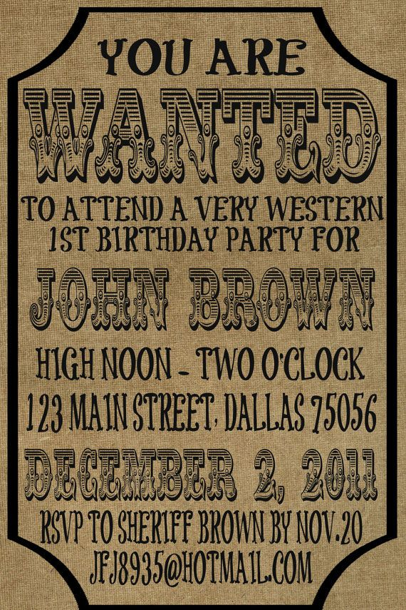 24 best Noahu0027s 3rd Birthday images on Pinterest Birthday party - old fashioned wanted poster