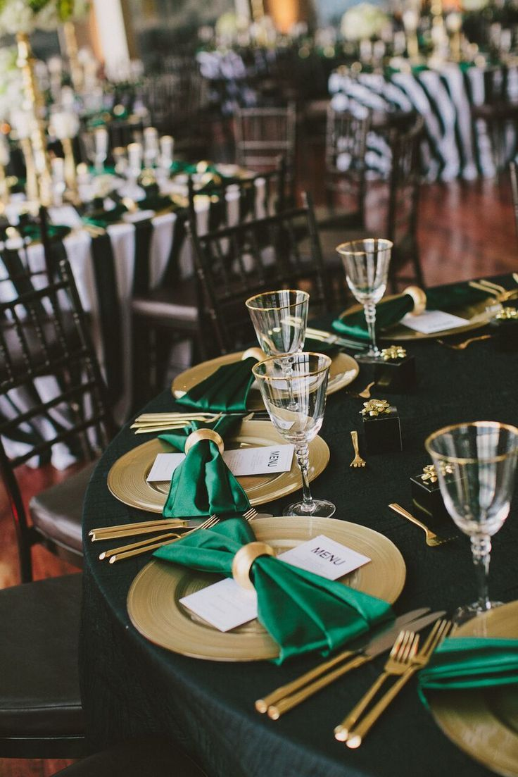 Tablescape. Gold Wedding. Place Setting. Menu Card. Napkin Fold. Emerald Green. Wedding. State Room // Henry + Mac Photography | https://henryandmac.com/ | State Room, a LONGWOOD venue | http://longwoodvenues.com