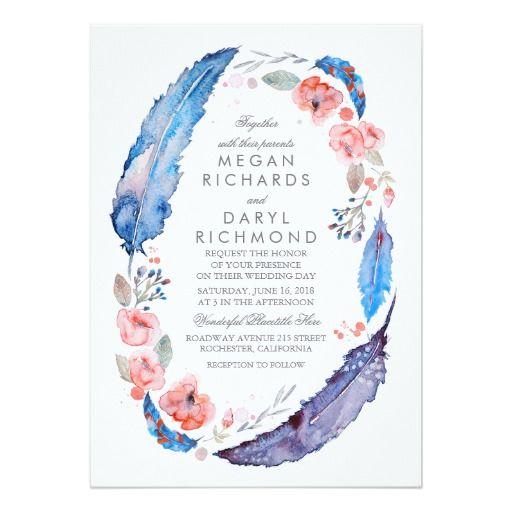 21 best boho weddings images on pinterest boho wedding bohemian floral feathers rustic wedding card stopboris Images