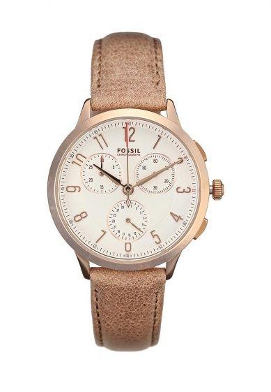 Классические женские часы от Fossil. Тонкий ремешок выполнен из натуральной кожи, корпус из нержа...