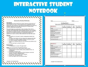 Interactive Student Notebook Directions & Grading Rubric Get your students organized with the Interactive Student Notebook! Detailed student directions and grading rubric are included as well as a list of suggestions for the teacher. Not only will your students be able to organize all their assignments and handouts but their notebooks can be used often to review prior units, especially before state testing. $3.00
