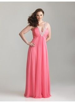 Fabulous A-Line V-Neck Chiffon and Beading Floor-Length Prom Dress