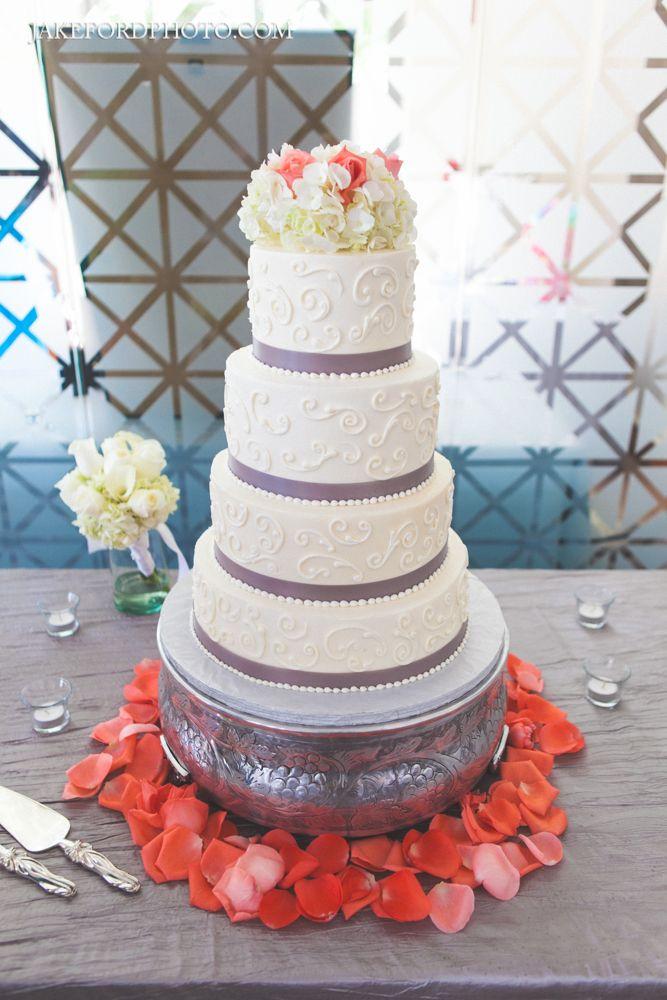 4 Tier Coral Amp Gray Wedding Cake