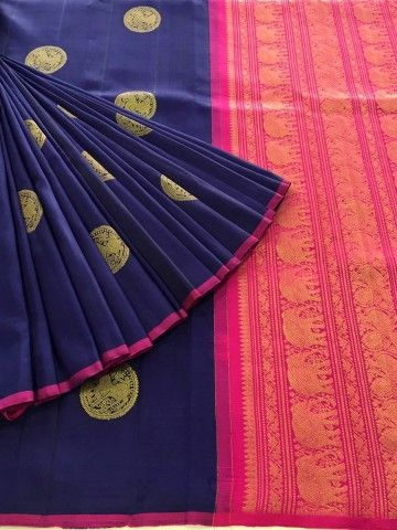 Gorgeous Blue Pure Kanjeevaram Silk Saree
