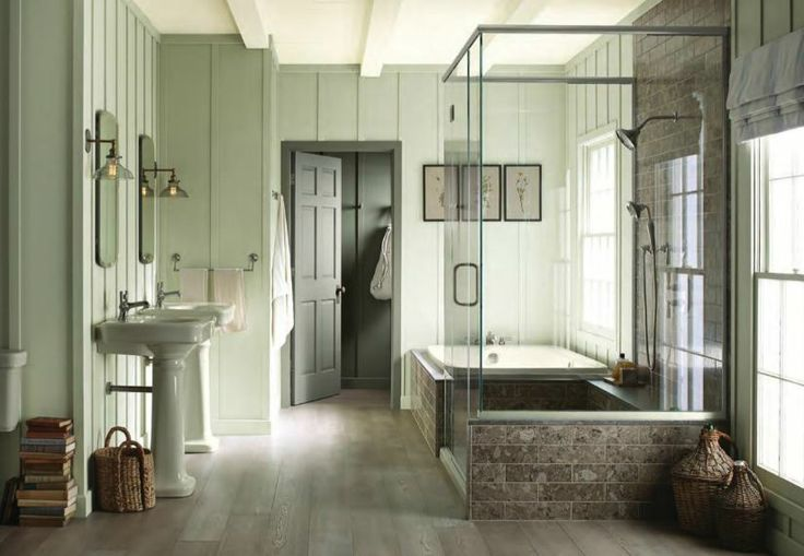Softer complementary shades create a more relaxing atmosphere in this serene bathroom
