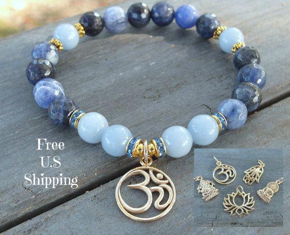Intuition & Wholeness, Angelite, Sodalite, gemstone bracelet, Yoga Bracelet, Om bracelet, lotus bracelet, buddha