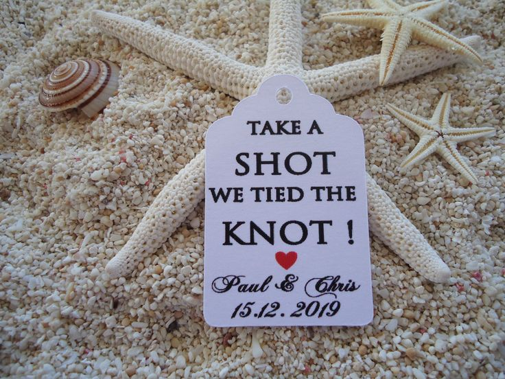 10 Kraft White Gift Tags Wedding Favour Bomboniere Personalised Take a shot we