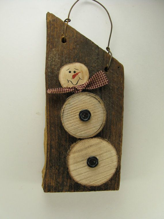 Reclaimed Wood Barn Wood Hanger with Unique Wood Snowman - M