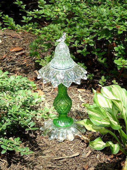 """Vintage green glass garden art """"totem"""" sculpture made with repurposed glass Upcycled art."""