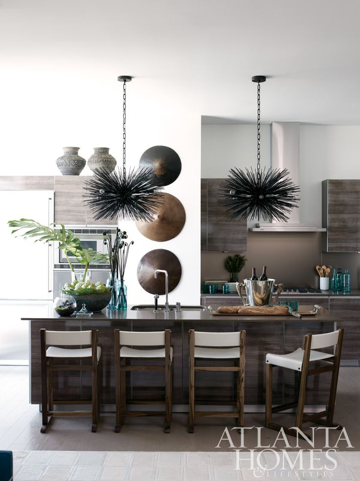 Love the chandeliers by Jean  de Merry, and the trio of hats Borneo, all via R. Hughes , | Atlanta Homes  Lifestyles: Interior Design, Kitchens, Dining Room, Atlanta Homes, Idea, Lifestyle, Kitchen Design, House, Susan Ferrier