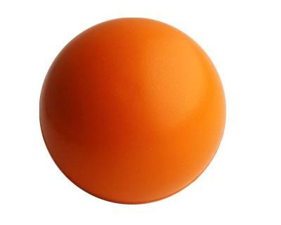 STRESS BALL ORANGE – S7  Price includes 1 color, 1 position print   2 Color imprint available for an additional charge  Decoration option: Pad print  Print Area: 30mm (D)  Product Size: 63mm (D)
