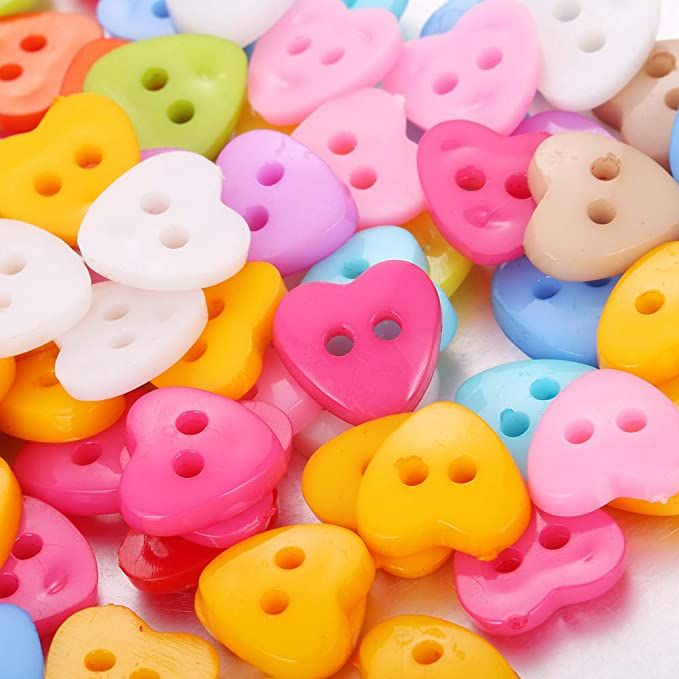 Amazon Com 150pcs Assorted Colors Size 1 2 Inch Round Resin Heart Buttons Two Holes Diy Crafts For Children S Manual B In 2021 Crafts For Kids Shape Crafts Diy Crafts