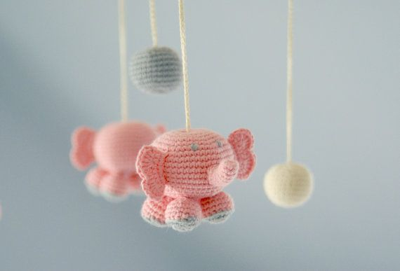Baby Mobile - Pink Elephants - Crochet Hanging Crib Mobile - Kids room decoration - Ready to ship via Etsy