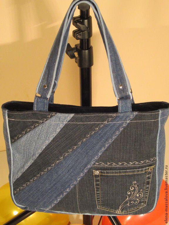 """Купить Джинсовая сумка """" хозяюшка"""" - синий, джинсовая сумка, хозяйственная сумка, сумка для прогулок"""