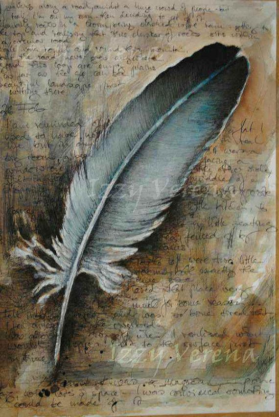Journal Paper Printable Feather and Ink Giclee...