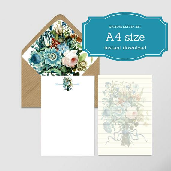 Letter writing set 2 sheets A4 size and envelope liner A7