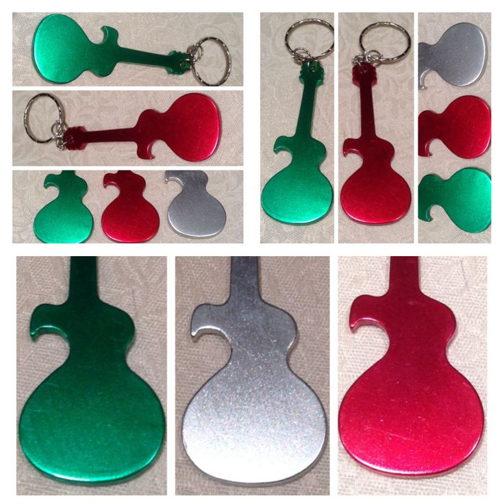 Guitar key ring (or pendant) which can also be used as a bottle cap opener. Made of aluminium alloy, 73mm x 27mm x 2mm @ AUD$4.00