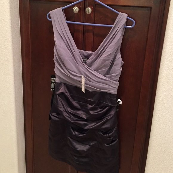 Nwt: Express Dress Brand new with tags and extra beads for the belt. Never been worn and original purchase price $128, v neck grey chiffon top darker grey satin bottom with straight across back and rooching on the bottom with optional belt - that still has the protective tissue on it. Great for a little cocktail dress  , date night, birthday  Express Dresses Mini