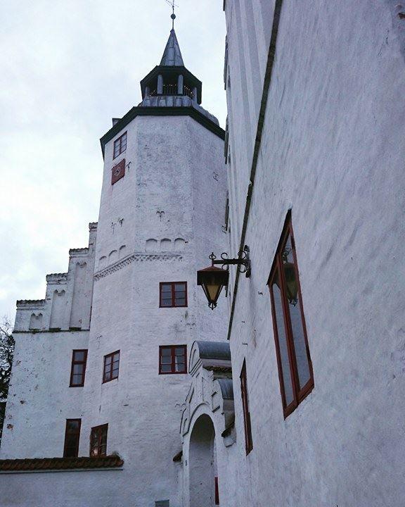 Rydhave Slot på en lys vinterdag