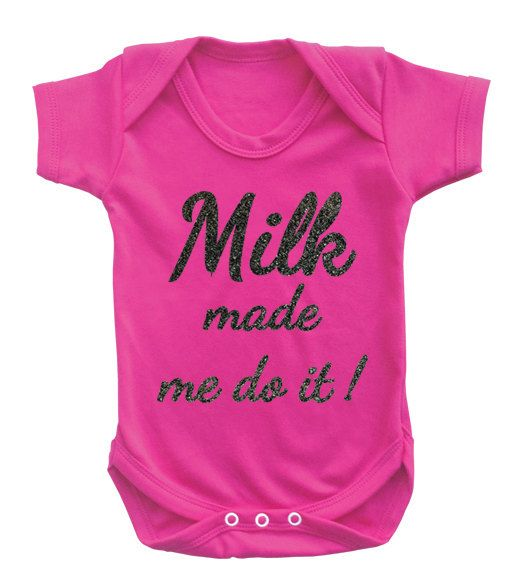 """Baby girls bodysuit onesie baby grow """"Milk made me do it"""" with smooth glitter. Glitter safe for babies. by MumKnowsBabyGrows on Etsy"""