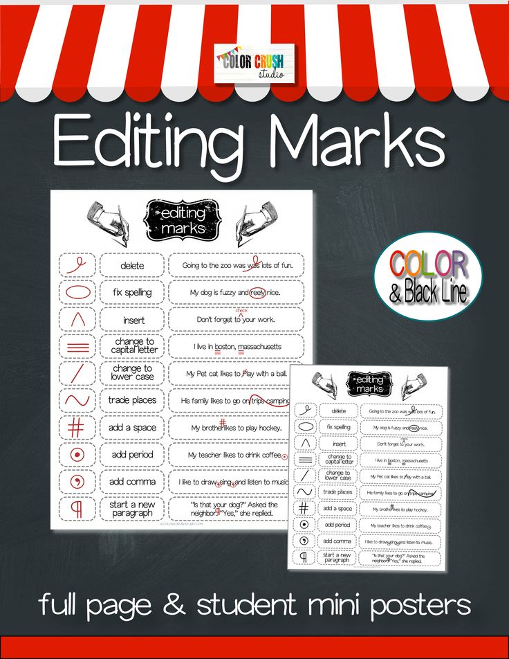 Only 65 cents for 2 days!!! A student friendly version of Editing Marks which features the editing mark, it's function, and an example of it's use. This language arts Editing Mark poster is especially useful for first grade through 5th grade and special education students. Simply explained and exceptionally designed, these Editing Mark posters will be an essential component of any writing lesson.