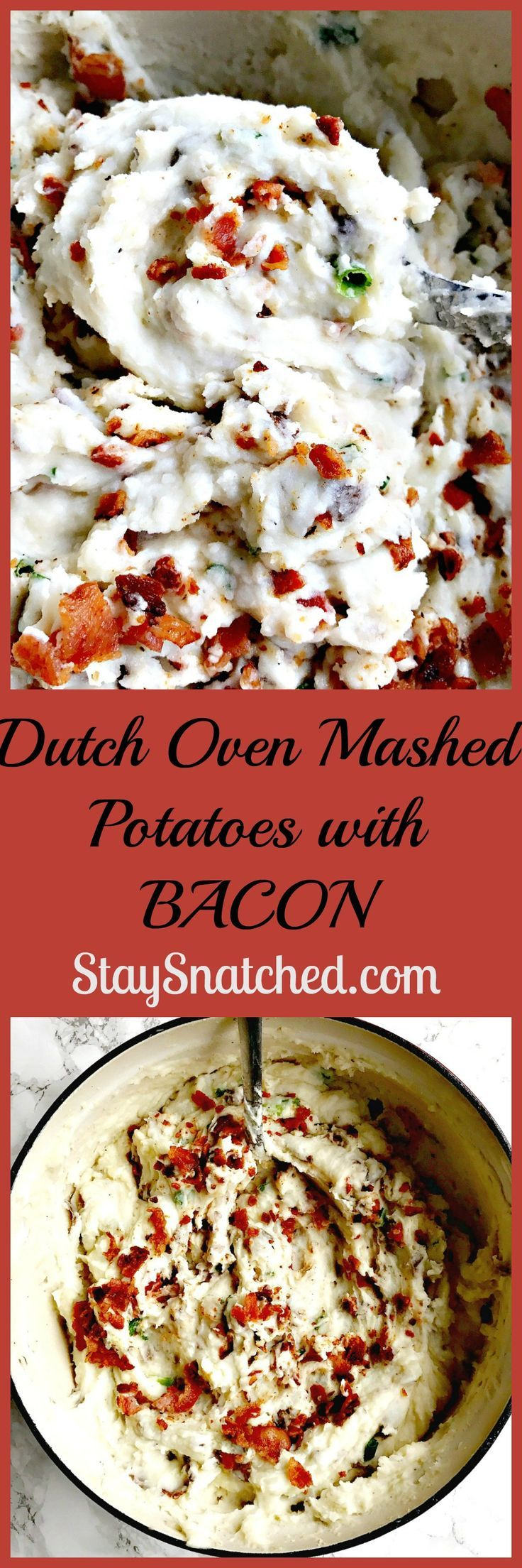 Dutch oven mashed potatoes with bacon: creamy mashed potatoes with cream cheese and bacon