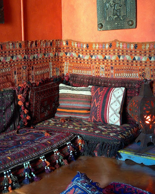 Moroccan Themed Living Room. Love The Pillows And Wall