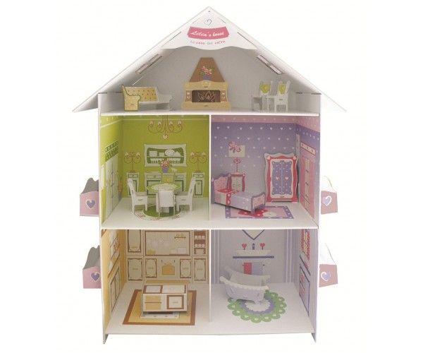 Casa per bambole, in cartone, ecologica e riciclabile, per far divertire i bambini e aiutarli a sviluppare creatività e senso di socializzazione. Facilissima da montare e smontare. In offerta sul nostro shop!  Prezzo IVA INCLUSA