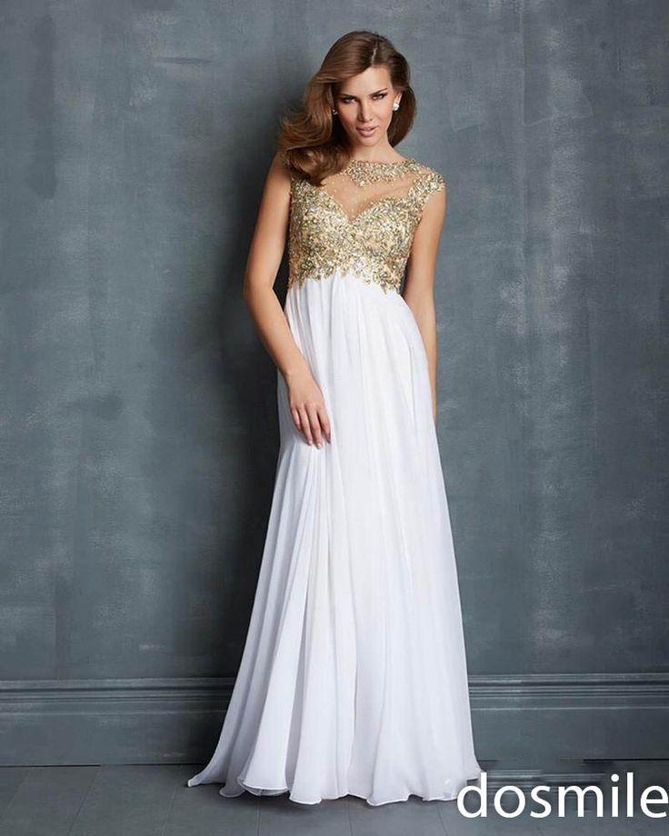 Жаркое лето sheer шеи cap рукавом длинные золотые платья выпускного вечера сексуальная спинки sparkly бисероплетение кристаллы шифон вечерние платья для дам