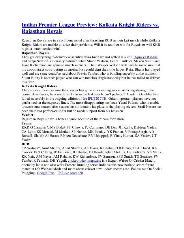 Indian Premier League Preview: Kolkata Knight Riders vs.  Rajasthan Royals  by Cricket Today via slideshare