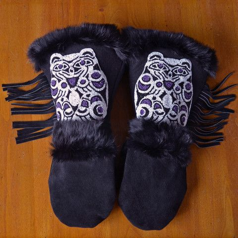 Astis Marquette Mittens: Astis leather mittens are hand-sewn in the USA from high-quality black suede leather with hand-stitched beadwork on the gauntlet and lined with Polartec® Thermal Pro® High Loft insulation.
