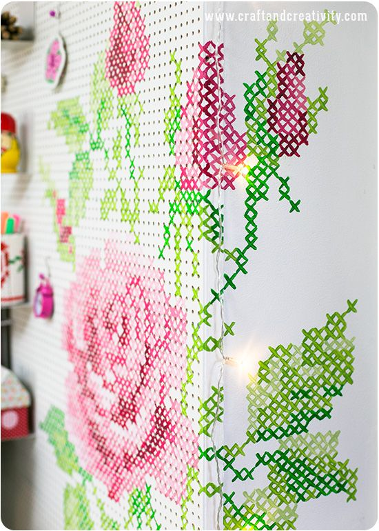 A cross stitch peg board (tutorial) - by Helena Schaeder Söderberg of Craft & Creativity, a Swedish craft blog. I might use a kurbits pattern instead, a typical ornamental design in Swedish folk art