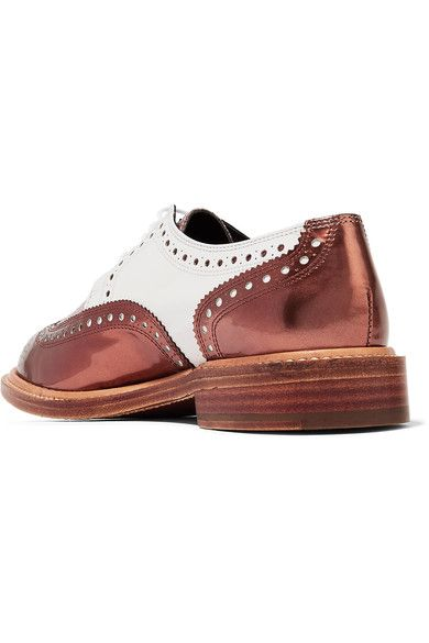 Robert Clergerie - Roeltm Glittered And Metallic Leather Brogues - Copper - IT40.5