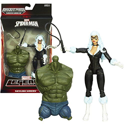 Hasbro Year 2013 Marvel Legends Infinite SpiderMan Series 7 Inch Tall Action Figure  SKYLINE SIRENS BLACK CAT Felicia Hardy with Claw Whip and Green Goblins Torso >>> Details can be found by clicking on the image.