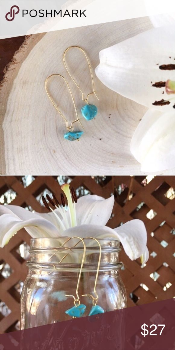 """Wild Turquoise Howlite 18K Gold Dangle Earrings Brand new, handmade in Colorado with love! Turquoise dyed Howlite stone with gold tone hardware. Kidney shaped dangle earrings are 18K dipped gold and approx 1.5"""" long. Turquoise raw cut stone is roughly .25"""" long. Light and perfect for sensitive ears! Dainty, classic southwestern, desert, Boho, straight up cool. wildarrow Jewelry Earrings"""