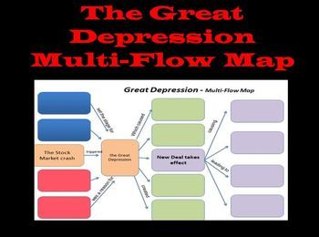 The Great Depression Multi-Flow Map(U.S. History)FREE! This graphic organizer will help to assess your students knowledge about the causes and effects of the Great Depression. The power point will display the multi-flow map in sections so you can review with your students.