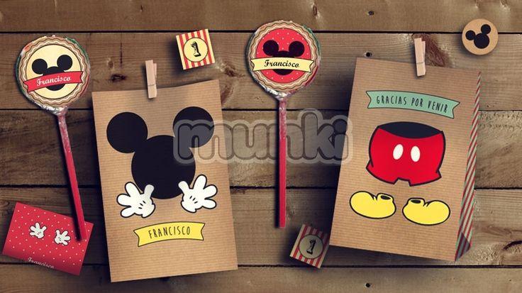 Kit Imprimible Mickey Vintage Personalizado Munki - $ 279,00