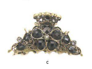 Antique Gold Black Crystal Rhinestone Metal Hair Claw Clip (Hair Jewelry) Edwin Earls. $13.99. Hair Jewelry. Bronze Metal Hair Claw Clip. BLACK Rhinestone