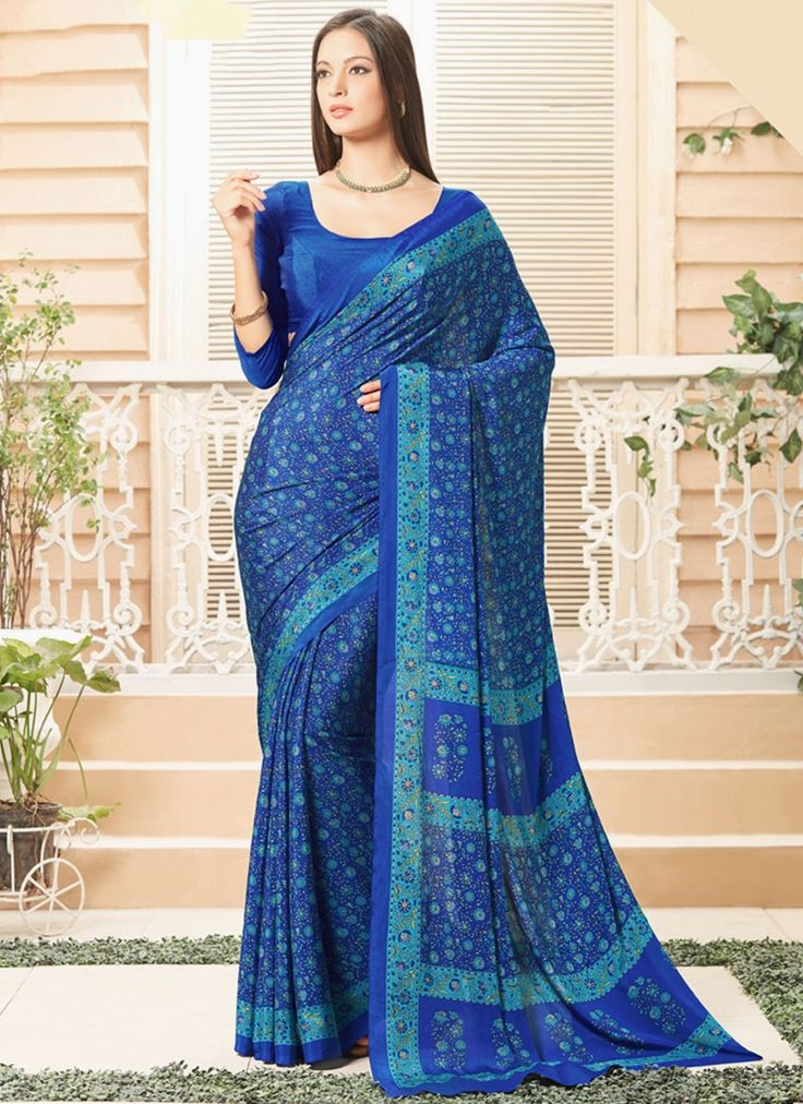 Online saree shopping made easy! Shop this glowing blue printed saree for casual.