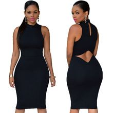 Hot Sale Women Short Party Bodycon Dresses Open Back Sexy Club Dress 2015 High Neck Sleeveless Tank Dress Casual Midi Dress(China (Mainland))