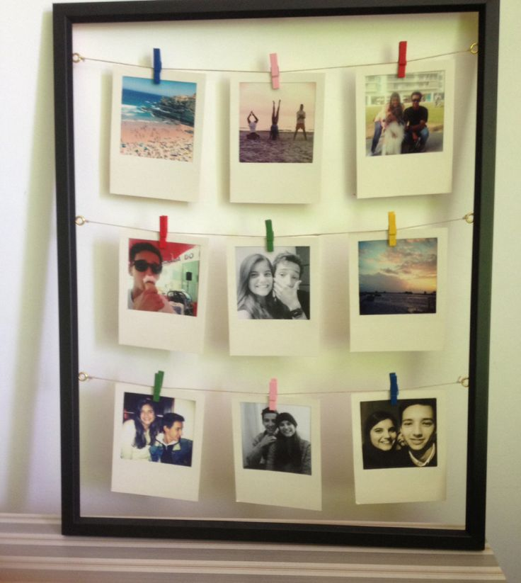 Diy polaroid display with instagram photos. For my boyfriend's Birthday