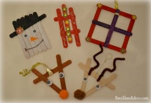 DIY déco sapin Noël bâtonnet de bois ou glace (bonhomme, rennes, cadeau, luge, ...)