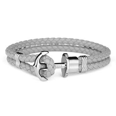 Paul Hewitt Phrep Silver Anchor And Grey Leather Bracelet PH-PH-L-S-Gr-L