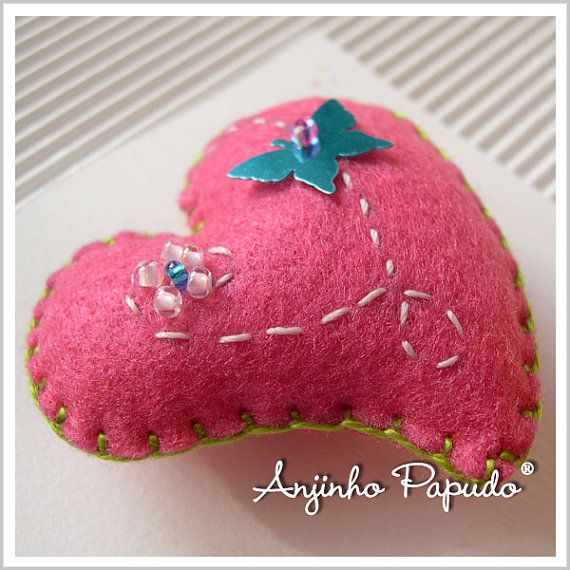 Valentine Pink Heart Brooch with Butterfly by anjinhopapudoshop