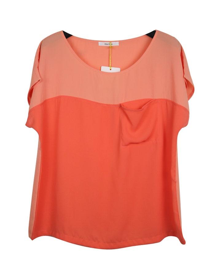 Orange Batwing Sleeve Scoop Neck T-shirt With Pocket