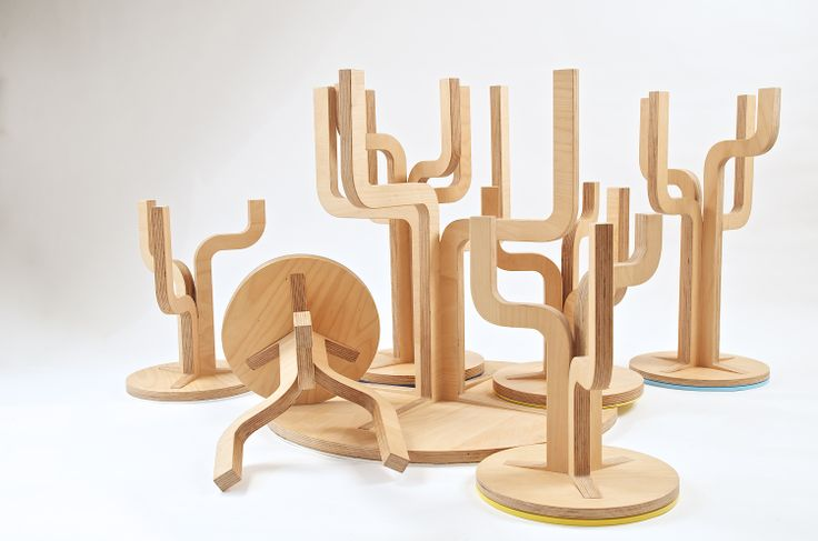 Twig table and chairs: made from stratified beech wood