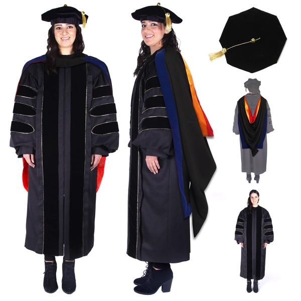 Premium Doctoral Regalia Set. Official design PhD Gown, Hood, and Cap made of premium material and detailed tailoring.