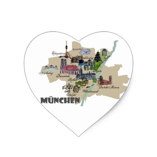 München-Karten-Überblick Herz-Aufkleber
