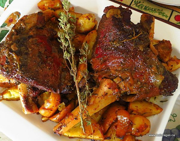 slow-roasted leg of lamb, the Greek way