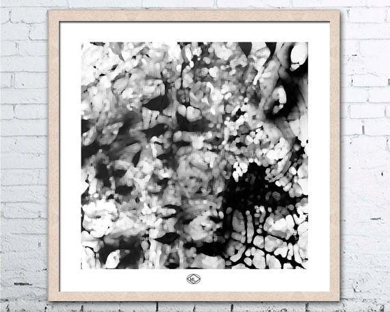 Art Print  Botanical White Black  by MillyLillyArtistry on Etsy